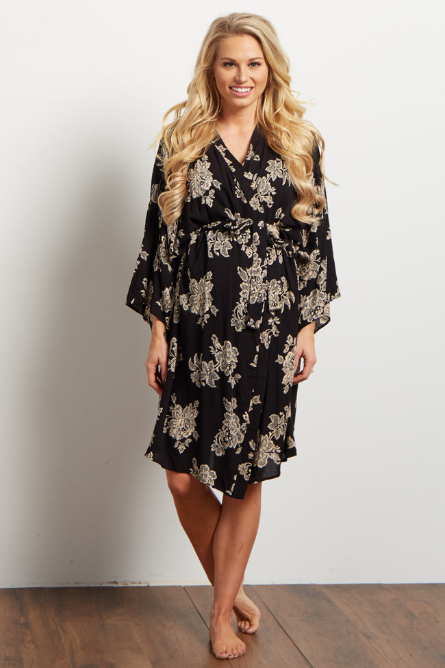 Black Antique Floral Delivery/Nursing Maternity Robe