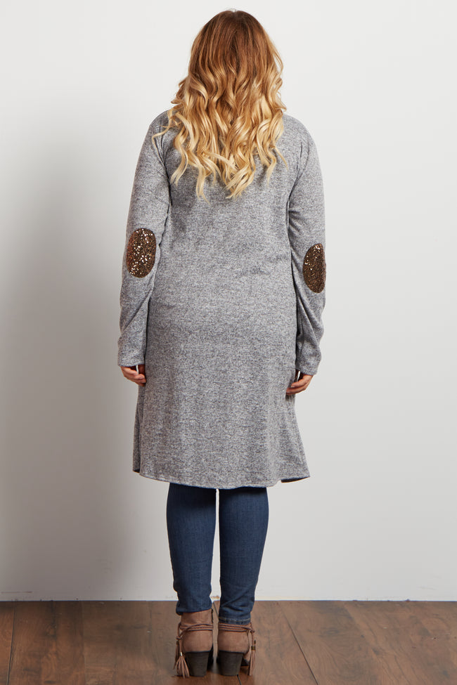 Grey Heathered Soft Knit Sequin Plus Maternity Cardigan
