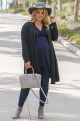 Black Heathered Soft Knit Sequin Plus Maternity Cardigan