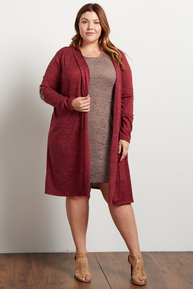 Burgundy Soft Knit Sequin Elbow Plus Cardigan