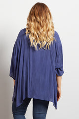 Navy Crochet Embroidered Maternity Plus Cover Up