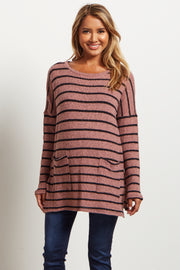 Mauve Striped Long Sleeve Knit Maternity Sweater
