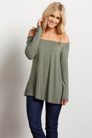 Olive Green Solid Off Shoulder Top