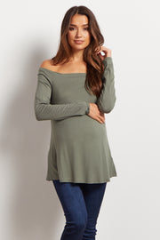 Olive Solid Off Shoulder Maternity Top