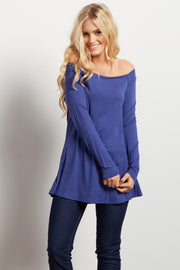 Royal Blue Solid Off Shoulder Top