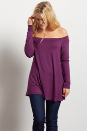 Purple Solid Off Shoulder Top