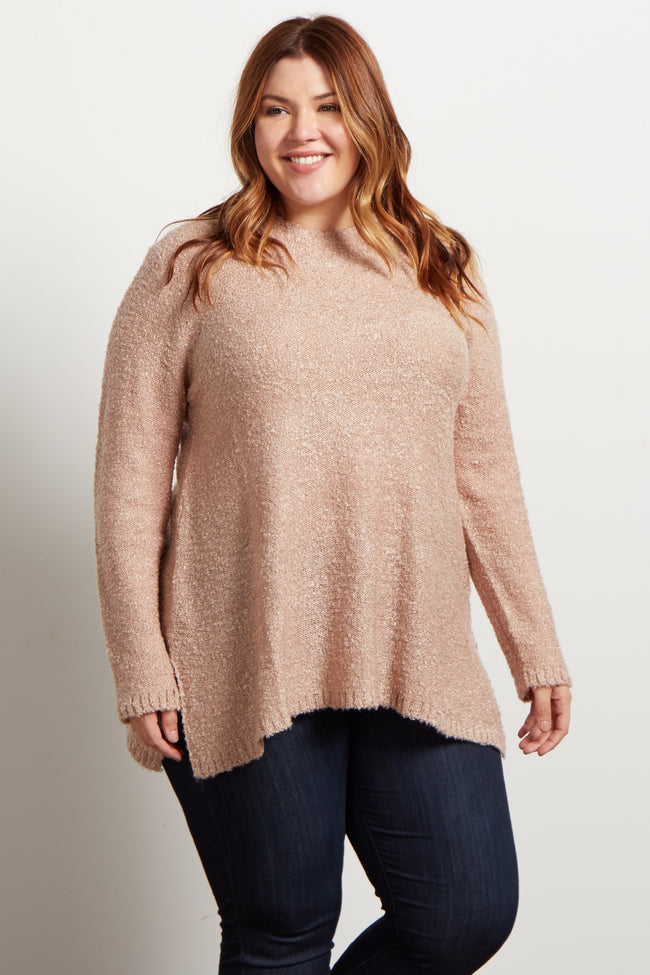 Mauve Solid High Neck Soft Knit Plus Maternity Sweater