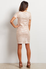 Light Pink Shimmer Fitted Maternity Dress