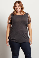 Charcoal Gold Sequin Sleeve Plus Maternity Top