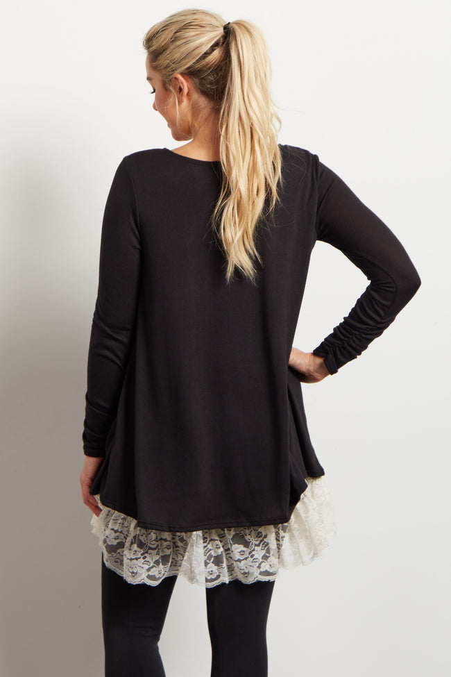 Black Lace Hemline Accent Knit Maternity Tunic