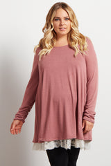 Pink Lace Hemline Accent Knit Maternity Plus Tunic