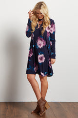 Navy Floral Mock Neck Cutout Dress