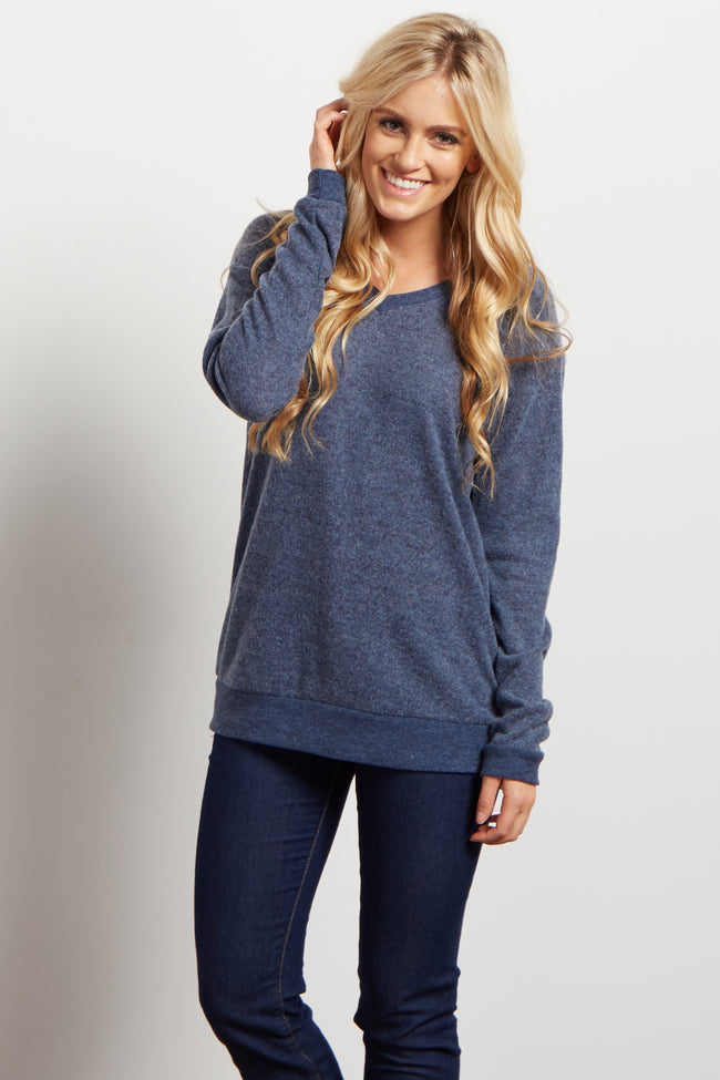 Blue Soft V Neck Knit Top