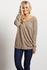 Brown Solid Soft Knit Top