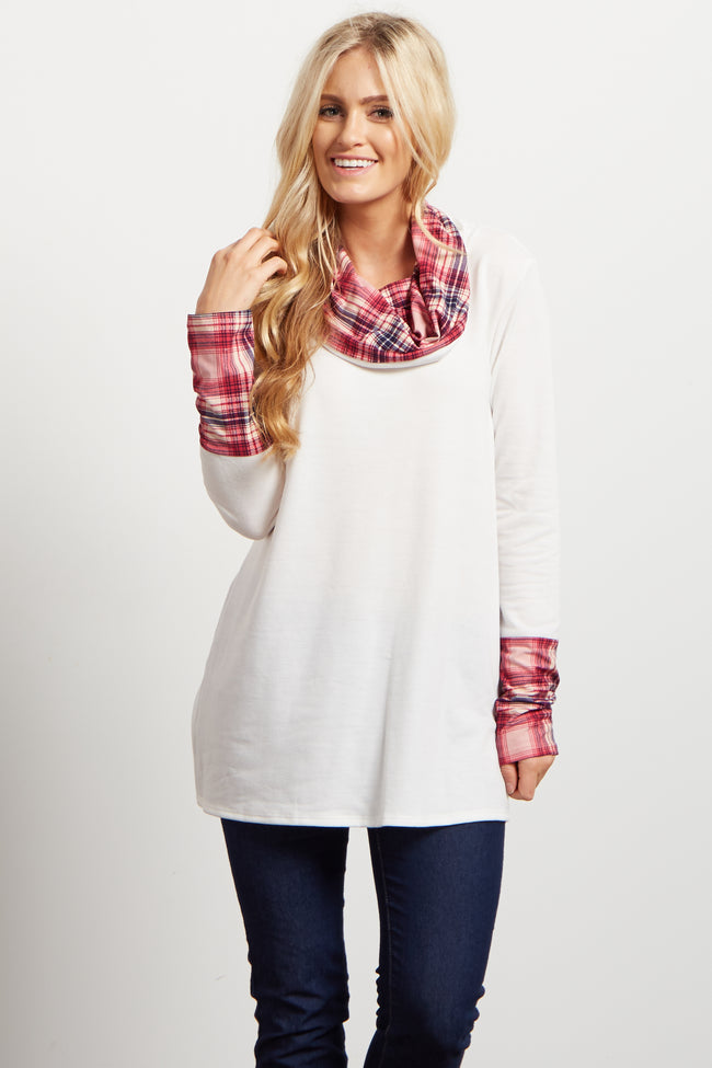 Ivory Plaid Print Accent Cowl Neck Top