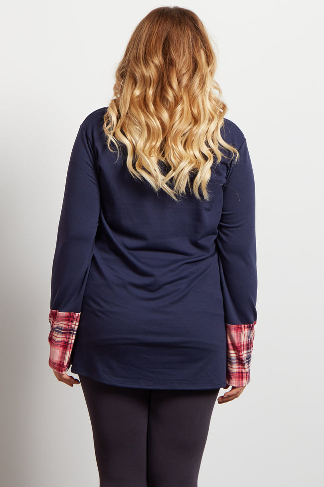 Navy Blue Plaid Print Accent Cowl Neck Maternity Plus Top