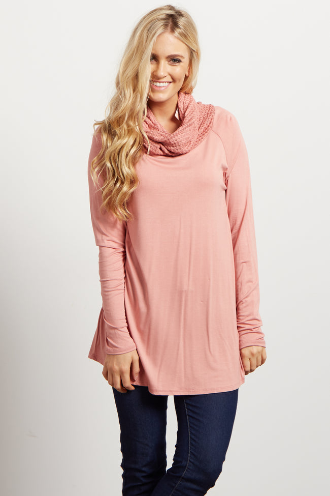 Pink Solid Knit Cowl Neck Long Sleeve Top
