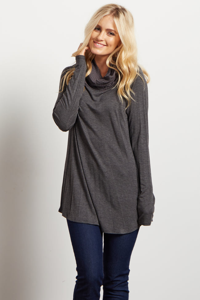 Charcoal Solid Knit Cowl Neck Long Sleeve Top