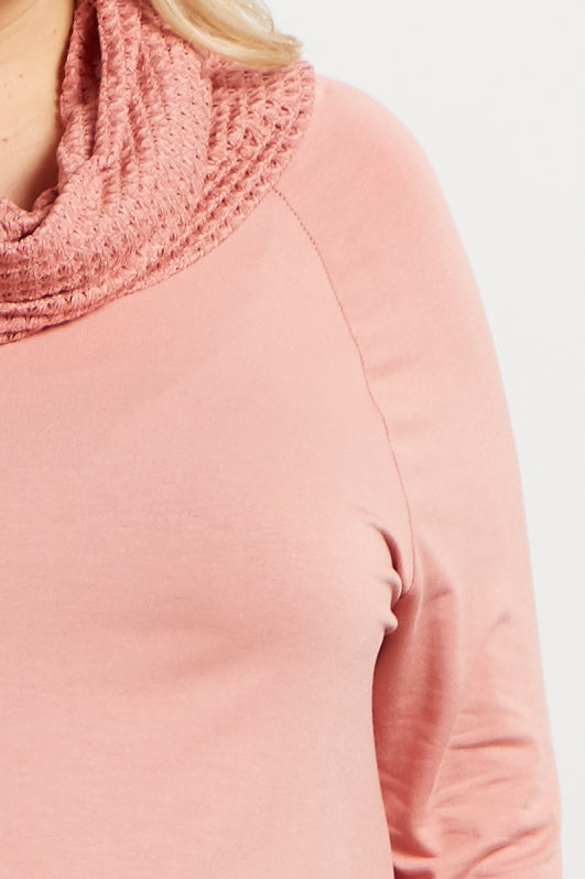 Pink Knit Cowl Neck Long Sleeve Maternity Plus Top
