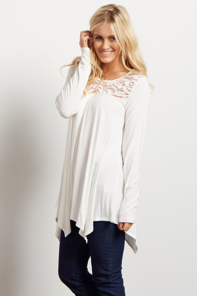 Ivory Solid Crochet Accent Long Sleeve Top
