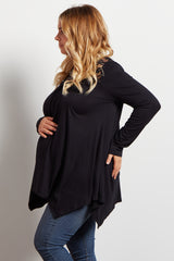 Black Solid Crochet Accent Long Sleeve Maternity Plus Top