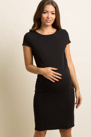 Black Fitted Cap Sleeve Maternity Dress