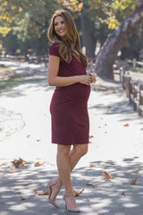 Burgundy Fitted Cap Sleeve Maternity Dress