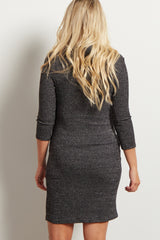 Charcoal Turtle Neck Fitted Maternity Sweater Dress