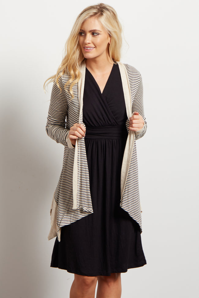 Black Beige Striped Ribbed Cardigan