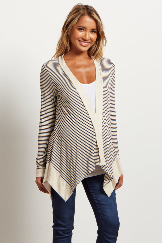 Black Beige Striped Maternity Cardigan