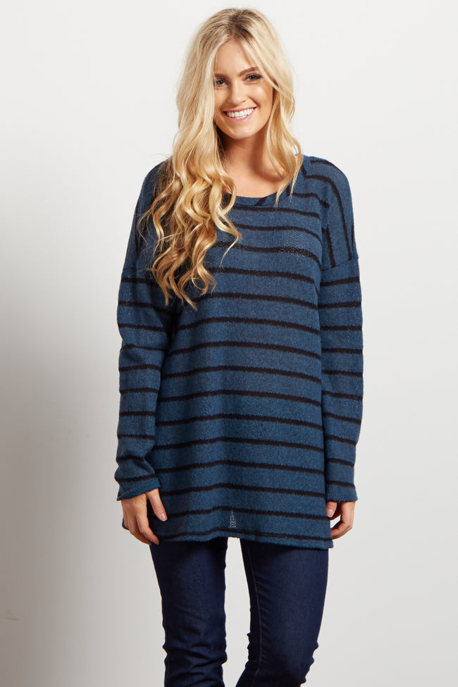 Teal Striped Soft Knit Sweater