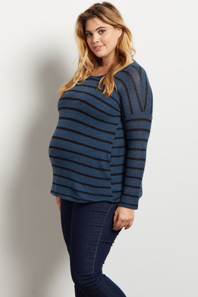 Teal Striped Soft Plus Maternity Sweater