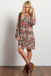 Mauve Floral Lace Up Bell Sleeve Dress