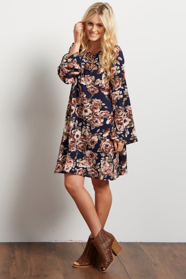 Navy Blue Floral Lace Up Bell Sleeve Dress