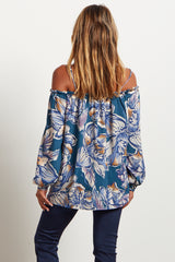 Teal Floral Open Shoulder Maternity Blouse