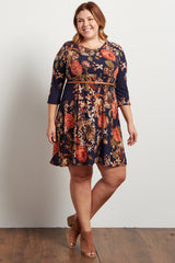 Navy Blue Floral Belted 3/4 Sleeve Plus Dress