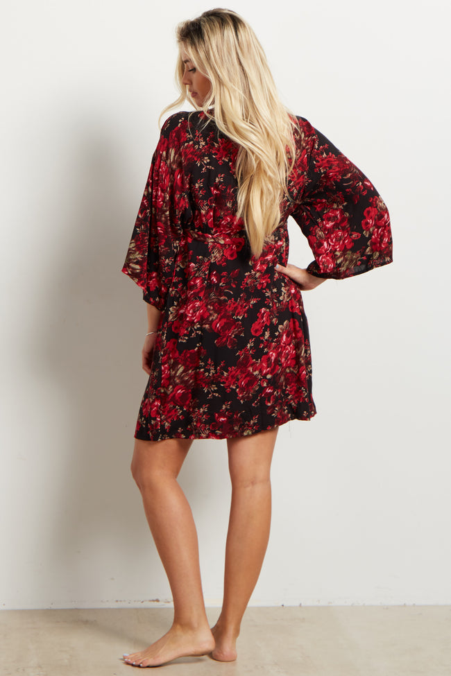 Red Floral Delivery/Nursing Maternity Robe