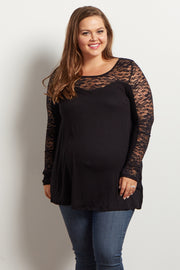 Black Lace Accent Long Sleeve Maternity Plus Top