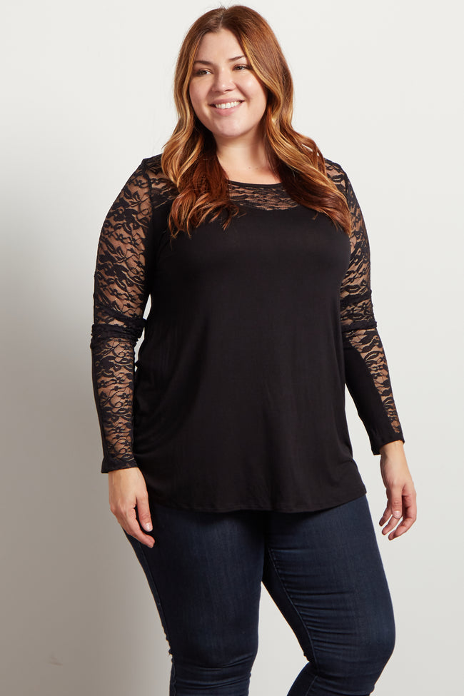 Black Lace Accent Long Sleeve Plus Top