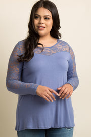 Blue Lace Accent Long Sleeve Plus Top