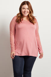 Mauve Lace Accent Long Sleeve Plus Top