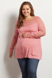 Mauve Lace Accent Long Sleeve Maternity Plus Top
