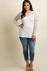 Ivory Lace Accent Long Sleeve Maternity Plus Top