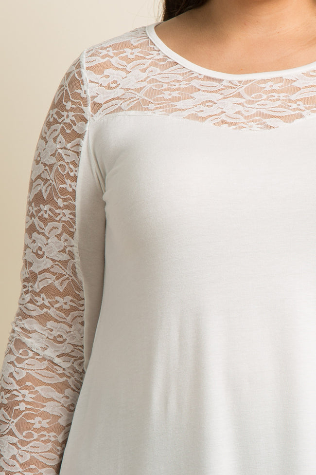 Ivory Lace Accent Long Sleeve Plus Top