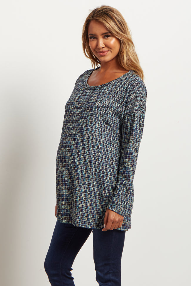 Teal Multi-Color Printed Knit Maternity Sweater