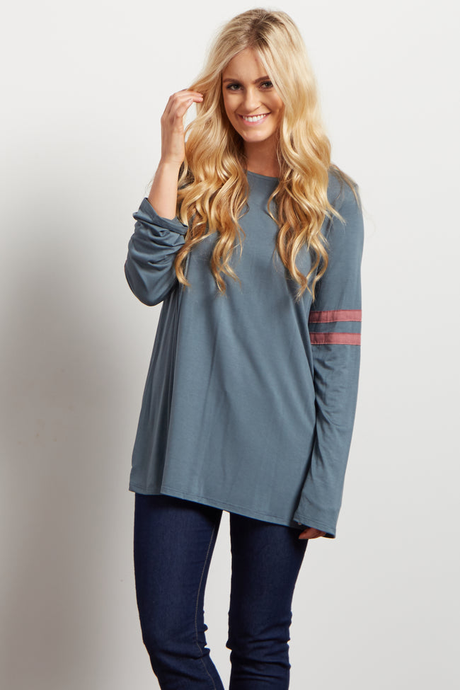 Grey Pink Striped Sleeve Top