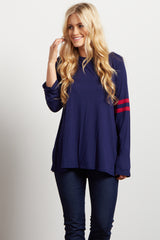 Navy Magenta Striped Sleeve Accent Maternity Top