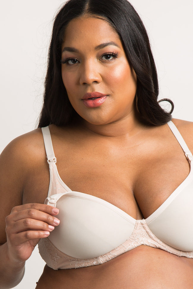Beige Cake Maternity Plus Buttermilk Waffles 3D Spacer Bra