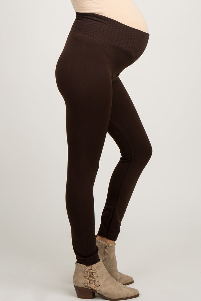 Brown Fleece Lined Maternity Leggings
