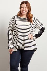 Black Striped Sequin Sleeve Dolman Plus Top